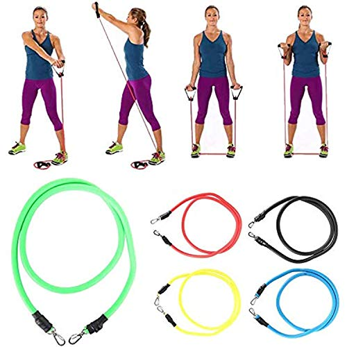 YINXN Gym Cord Bands 11pcs Fitness Training Resistance Bands Strong Workout Stretch Cord Tension Rope for Men, Women, Home-Gym Strength Training, Stretch Training
