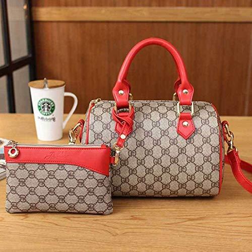 Eeayyygch Fashion Boston Handtaschen Kissen Tasche Handtasche Schultertasche Kuriertasche, Gr+Khaki Au Rouge, Einheitsgröße
