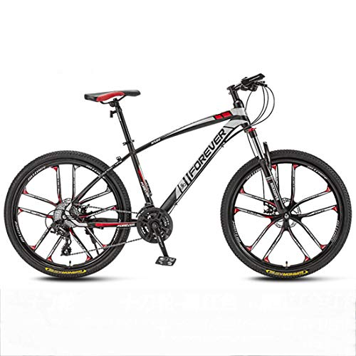 Huashao Mountain Bike 21/24/27/30 Speed Double Disc Brake System Mountain Bike 26 Inches Wheels Bicycle (White, Red, Blue,Black),D,30