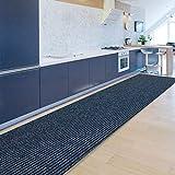 Floordirekt Küchenläufer Granada | Teppich-Läufer auf Maß für die Küche | Breite: 80 cm, viele Farben | Moderne & hochwertige Wohnteppiche (Blau, 80 x 400 cm)