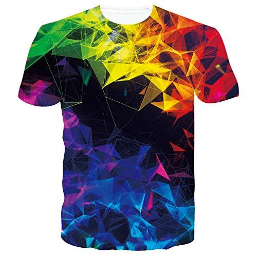 RAISEVERN Kurzarm Gelb Blau Schwarz Rad T-Shirt Stilvolles T-Shirt mit Rundhalsausschnitt T-Shirt Tops für Herren Damen Medium