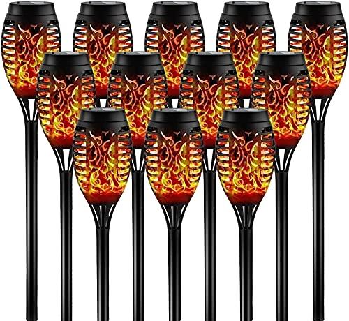 SKYWPOJU Luces solares para exterior,linternas solares de 4/8/12 piezas Antorchas de jardín con luz de llama con IP65 a prueba de agua,lámpara solar de encendido/apagado automático para exterior,jardí