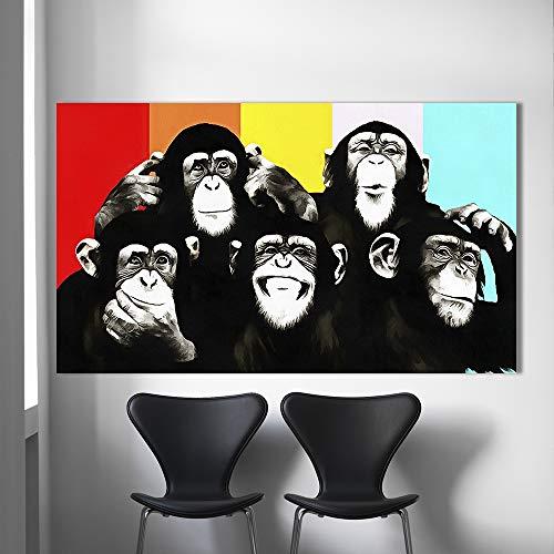 Orlco Art Animal Canvas Art Olieverf Pop Art Funny Chimps Wall Pictures voor woonkamer Home Decor afgedrukt met Frame kleurrijke 48
