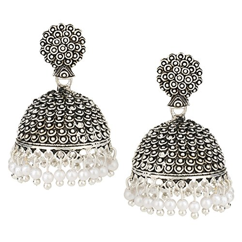 Efulgenz Indian Vintage Bollywood Gypsy Oxidized Silver Plated Traditional Jhumka Jhumki Earrings for Women and Girls