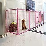 Heavy Duty Metal Haustierlaufstall, Hundewelpen-Katze Übung Zaun Barriere Laufstall Kennel, Outdoor & Indoor, 6 Panels / 5 Farben Optionen,Pink