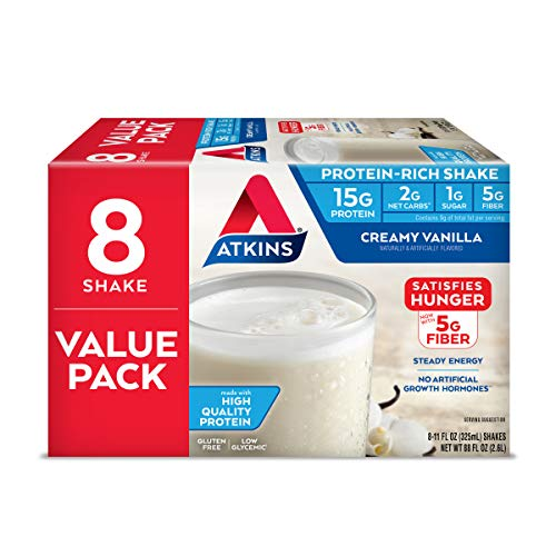 Atkins Gluten Free Protein-Rich Shake, Creamy Vanilla, Keto Friendly, 8 Count (Pack of 1)