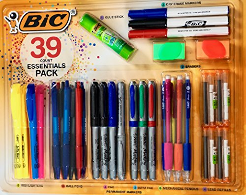 BIC Essentials Writing Set 39-Pieces BIC 39-Pices Essentials Writing Set with an Assortment of Pens, Pencils, Markers, Highlighters and More, Savings Value Pack School and Office Supply