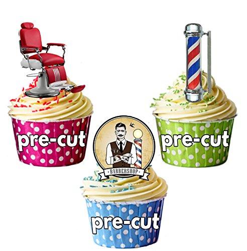 Sillón de peluquería de barra de tijeras de mezcla de Clippers - 15 x comestibles cuadrícula adornos para tartas STAND UP figurines