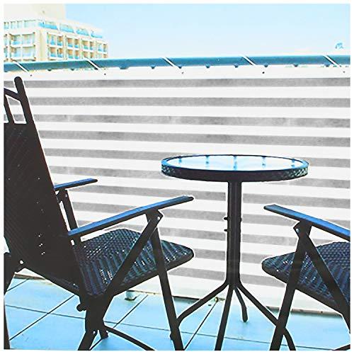 com-four® Pantalla de balcón Opaca - Correas de balcón con cordón para Sujetar - también adecuadas como protección contra el Viento y el Sol (1 Pieza - 600 x 75cm - Gris/Blanco)