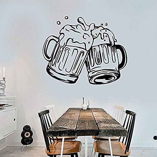 Wandaufkleber Kunst Wandbild Wandtattoos Wandaufkleber Tassen Bier Pub Alkohol Bar Aufkleber Vinyl Wandaufkleber Abnehmbare selbstklebende Wandbild Home Decoration Wallpaper 70X57Cm
