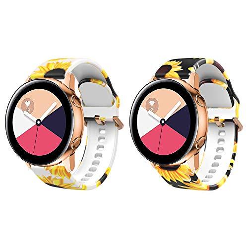 TiMOVO Cinturino 2 PZ Compatibile con Samsung Galaxy Watch 41mm, Cinturino in Silicone con Floreale Stampato, Cinturino di Scambio per Orologio per Donna, Girasole Nero/Bianco
