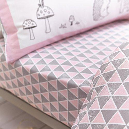 Bianca Kids Nordic Bett 105Spannbetttuch, 100% Baumwolle, Pink, 105x 200