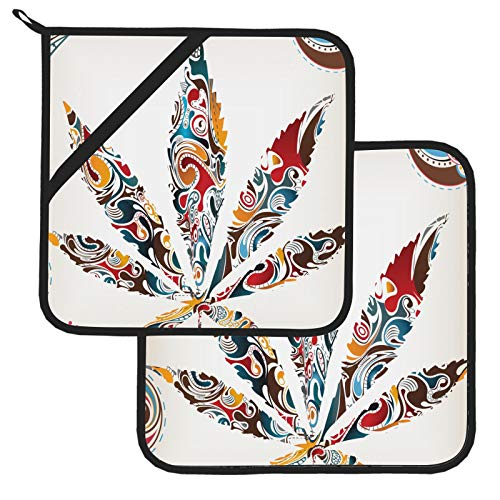 Marijuana Leaf Tribal Cannabis Potholders for Kitchens Heat Resistant Potholders for Kitchens 2 Pcs Kitchen Sets 8×8 Inch for Cooking and Baking