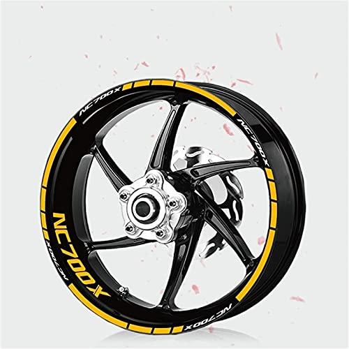 Pegatina de neumáticos de la Motocicleta Rueda Reflectante Decoración Decorativa Película de protección de neumáticos para Honda NC700X NC 700X (Color : 190085-YLW)
