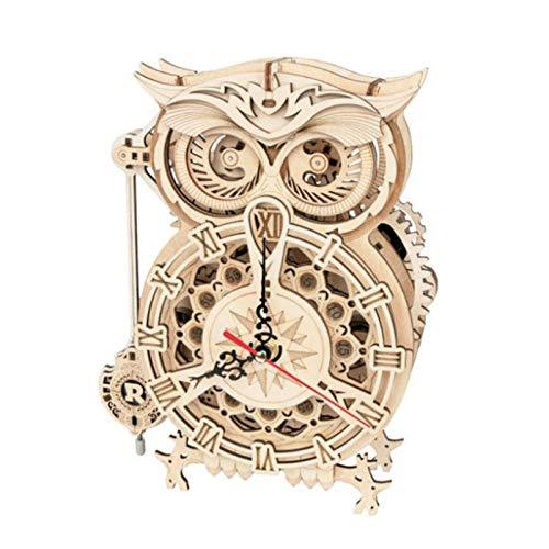 3d Holz Eule Mechanische Modellbausätze Owl Clock, Holzpuzzle Erwachsene, Wooden Jigsaw Puzzle Eule, Puzzleteile Holz - 206 X 128 X 265 Mm