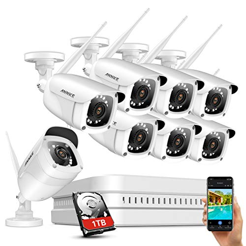 ANNKE 8CH Wireless Security Camera System with 1TB Hard Drive and (8) 1080P Outdoor WiFi IP Cameras Video Surveillance System, 100ft Night Vision, Remote Access & Smart Motion Alerts-WE400