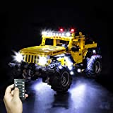 T-Club Classic RC LED Light Kit for Lego Technic Jeep Wrangler 42122 , Lighting Kit Compatible with Lego 42122 ( Not Include Lego Set ) (RC Version)
