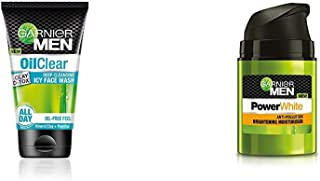 Garnier Men Oil Clear Clay D-Tox Deep Cleansing Icy Face Wash, 100gm And Garnier Men PowerWhite Anti-Pollution Brightening...