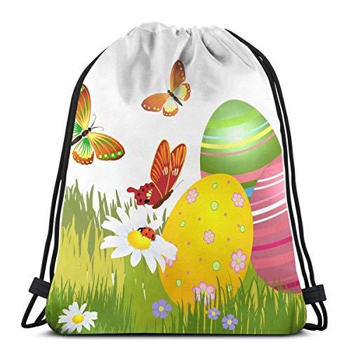 Yuanmeiju Easter Eggs and Butterflies Bolsa con cordóns Gym Dance Backpacks Shoulder Bags Gift for Girls Daughter Boys Kids Teens Women 36 x 43cm/14.2 x 16.9 Inch