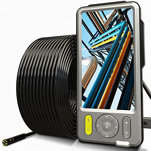 50FT Dual-Lens Industrial Endoscope 5'' Larger IPS Screen [Upgraded], DXZtoz Sewer Pipe Drain Plumbing Inspection Camera Snake Waterproof Borescope with 7 LED Lights, 16inch Long Focal