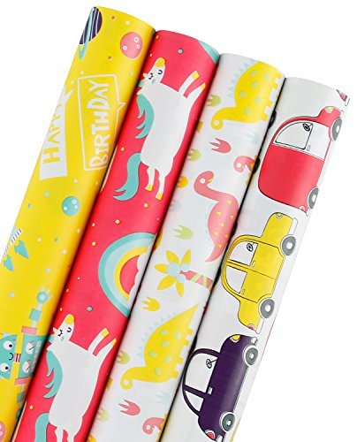 WRAPAHOLIC Gift Wrapping Paper Roll - Dinosaurs/Robot/Cars Cute Design for Birthday, Holiday, Baby Shower Gift Wrap - 4 Rolls - 30 inch X 120 inch Per Roll