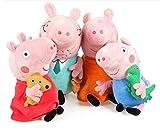 Peppa Pig Conjunto de Cuatro Miembros de la Familia Cute Plush - Daddy Pig y Mummy Pig Son 28cm Tall George Pig Son 17cm Tall - Super Suave y tierno