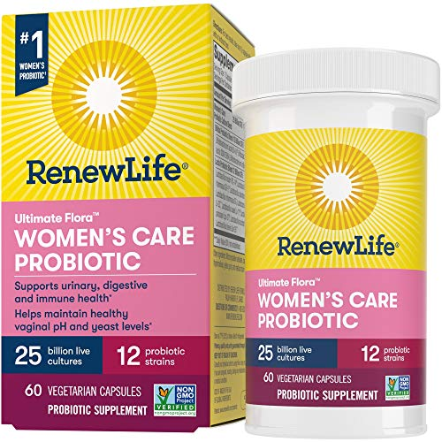 Renew Life #1 Women's Probiotics 25 Billion CFU Guaranteed, 12 Strains, Shelf Stable, Gluten Dairy & Soy Free, 60 Capsules, Ultimate Flora Women's Care - 60 Day Money Back Guarantee
