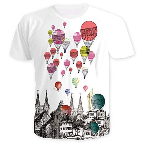 Männer T-Shirt Kurzarm Sommer 3D heißluftballon Gedruckt Unisex Paar Teenager Casual Halbe Hülse Tees Jugend S-3XL, S, A