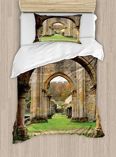 ABAKUHAUS Antiek Dekbedovertrekset, Autumn Ruins View, Decoratieve 2-delige Bedset met 1 siersloop, 130 cm x 200 cm, Sand Brown and Green