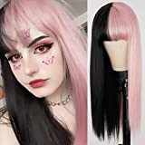 Half Pink Black Wig Long Straight Cosplay Wigs with Bangs Synthetic Split Costume Halloween Wigs for Women