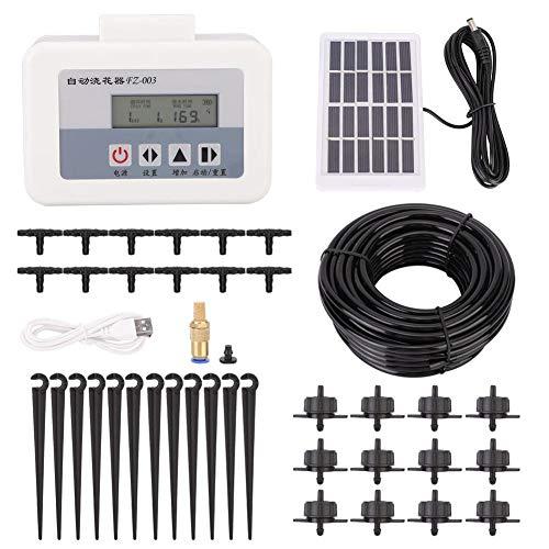Automatisches Bewässerungssystem, Solar Intelligentes Tropfwasser-Bewässerungssystem Auto-Selbstbewässerungs-Timer-Set USB-Aufladung, Regenschutz/geringer Stromverbrauch(Mit Solarpanel)