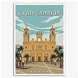 Póster de viaje Vintage de la Iglesia de España Gran Canaria, pintura en lienzo, arte de pared, decoración del hogar, regalo, 24x36 pulgadas, sin marco