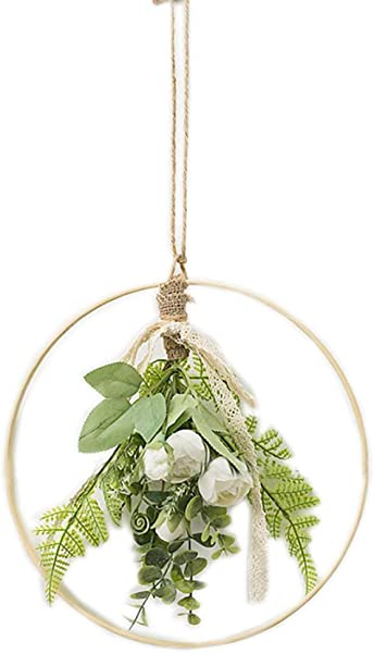Ying Ying Chic YYC 1Pcs Coffee Shop Artificial Rose Hanging Geometric Hoop Wreath Florist Wall Decor Hemp Rope White