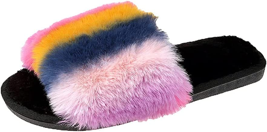 LUXMAX Beautiful Flip Flop Foreign Fur Limited Special Price Fl Trade Super sale Rainbow Slippers