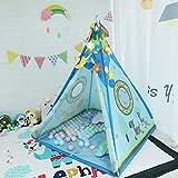 YMUUIHC Tienda Tipi para niños para niños y niñas-Tienda de Juegos para bebés Interior, Dream Blue Animal Toy House India Carpa, 102 * 150 cm