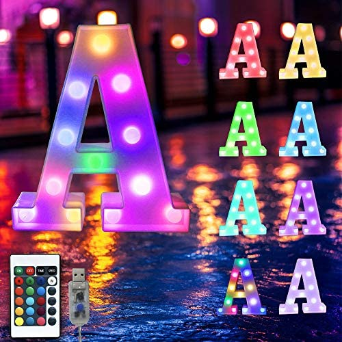 16 Color Changing Marquee Letter Light Light Up Colorful 26 Alphabet Signs Home Decor Name Signs product image