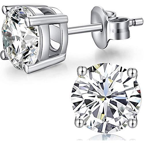 Silver Earrings Women Diamond Studs CZ Diamond Earrings Sterling Silver Round Cut Cubic Zirconia Stud Earrings Fake Diamond Earrings Sterling Silver Diamond Earrings Silver CZ Studs 5mm