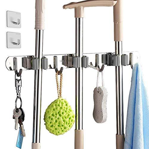 Hapree besenhalter, Besen Mop Halter mit 3 Schnellspannern 4 Haken, Ordnungsleiste Wandhalter für Küche Badezimmer Garten Multifunktionen