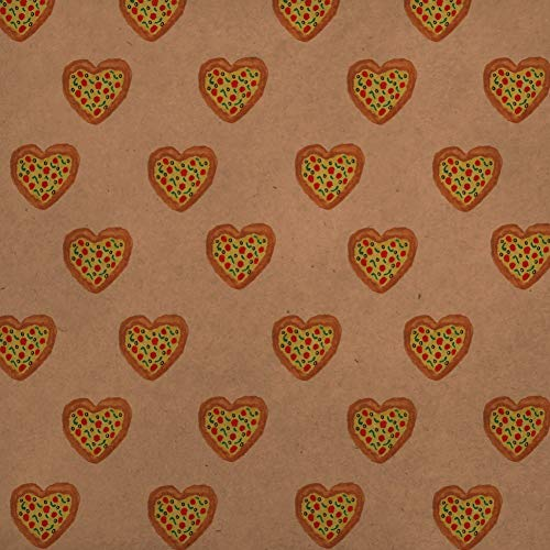 GRAPHICS & MORE Pizza My Heart Love Pattern Premium Kraft Roll Gift Wrap Wrapping Paper