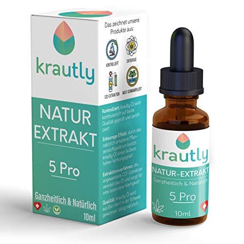 krautly Natürliche Premium Bio Öl Tropfen 5 Pro | 100{c1cedbc6f4ace8bb724b43c7eed4c9bad8d8568c4b641508214483960e652633} Vegan | 10ml | Laborgeprüft & Zertifiziert | Hochwertige Premium Zutaten | Leckerer Geschmack | 5{c1cedbc6f4ace8bb724b43c7eed4c9bad8d8568c4b641508214483960e652633} Terpene Extrakt | Natur-Öl Aus der Schweiz