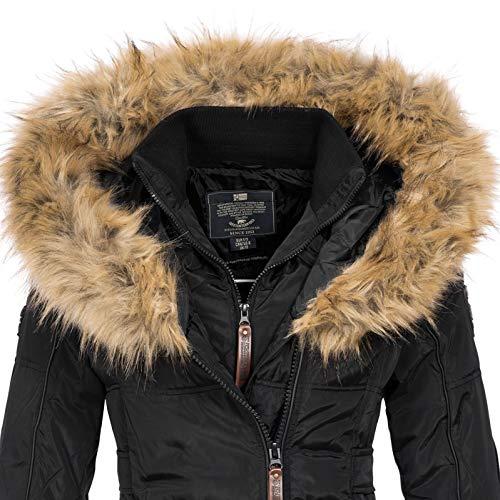 Geographical Norway BEAUTIFUL LADY - Parka cálida mujer - Abrigo grueso con capucha de piel falsa - Chaqueta de invierno - Chaqueta larga con forro cálido - Regalo para mujer Moda casual (Negro XL)