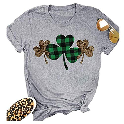Women Buffalo Plaid Shamrock Leopard Print Shirt St. Paddy's Day Cute Shamrock Graphic O-Neck Short Sleeve Top Blouse (L, Gray)