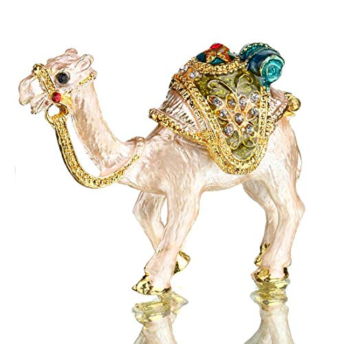 Tiny Cute Camel Figurine Collectible Hinged Crystal Jeweled Animal Trinket Jewelry Box Desert Camel Decor Ornament Camel Lover Gift