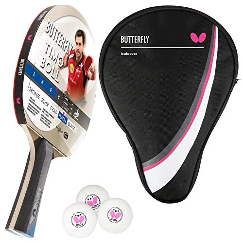 Butterfly Timo Boll Platin Tischtennisschläger + Tischtennishülle Drive Case + 3*** ITTF R40+ Tischtennisbälle | Tischtennisschlägerset | Tischtennis Profi Set