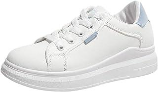 2019 Zapato Blanco Para Mujer, Zapatillas Deportivos De PU Con Plataforma De Suela Cómodas Gruesa Calzado De Cordones Para...