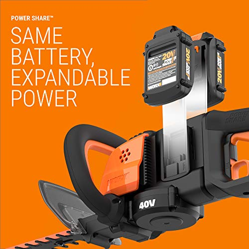 """WORX WG284 40V Power Share Cordless 24"""" Hedge Trimmer (2x20V Batteries)"""