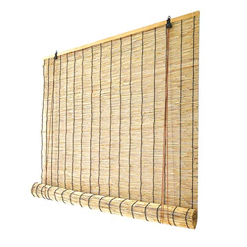 KDDEON Retro Reed Curtain Bamboo Roller Blinds,Bamboo Roll Up Window Blind Sun Shade,Bamboo Curtains Nature Anti-UV/Breathable,Indoor Patio Curtains,Customizable (110x170cm/43x67in)