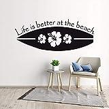 Nueva calcomanía de Pared de Tabla de Surf de diseño Etiqueta de Pared de Vinilo de Surf Deportivo para Mejorar la Vida Etiqueta de Pared de Playa 85cmX34cm