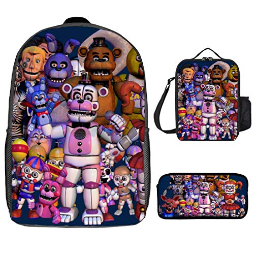 Five Nights at Freddy's 17' Backpack Lunch Box Water Bottle Lunch Pencil Bag Kit -3 Piece Set