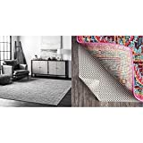 nuLOOM Ripple Contemporary Sherill Area Rug, 5' x 8', Grey, Gray & Non-Slip Grip Rug Pad, 5' x 8', White